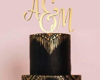 Initial Cake Topper Monogram Letter Wedding Custom