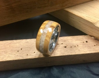 Olive wood ring with Dead Sea salt crystal inlay, men's size 10