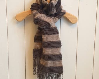 Brown and beige wool scarf