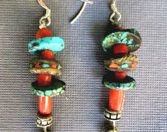 Earrings of Natural Turquoise, Coral, and Vintage Mala Beads Set with Chips of Coral and Turquoise