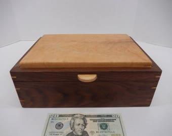 Black walnut and maple jewelry box