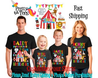 CIRCUS Birthday BOY Theme Family BLACK Shirts For the Entire Family Mom Dad Brother and More T-shirts Long/ Short sleeve Raglan carnival