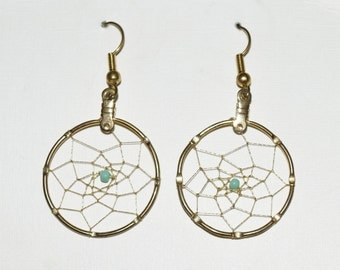 Gold Dream Catcher Earrings with Turquoise Stone Accent