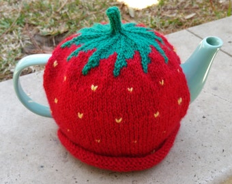Knitted Strawberry Tea Cosy for 6 cup teapot.