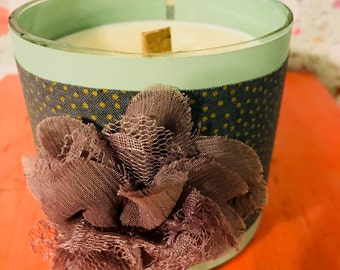 Gold Polka Dot Fabric and Bluesy Floral  Hand-Poured Soy Wax Candle