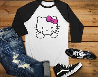 Middle Finger Hello Kitty//Womens//Raglan Tee T Shirt//Sassy//Mean//