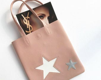 Cute PU leather star shoulder tote bag