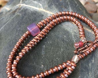 Wrap Style Beaded Bracelet with Copper Toggle Clasp