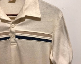 Vintage Double Stripped Polo / 70's Retro Design T-Shirt