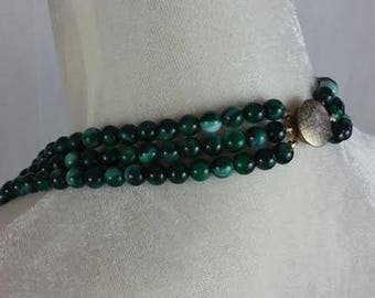"""Vintage Green Marble Look Bead Necklace 3-strand 22"""""""