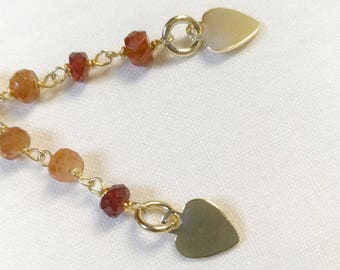 Earrings with pendant in golden silver and semi-precious stones - HOT HEART