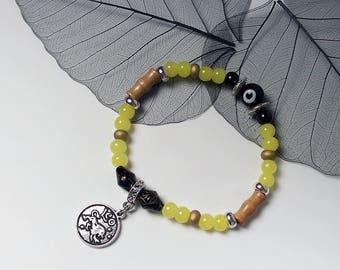 LEO Zodiac Sign Glass Wood Bead Bracelet Evil Eye Protection Luck Charm