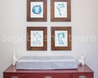 Lake Nursery Art - Personalized Baby Art Gift - Lake Prints - Children's Art - Girls Room Decor, Boys Room Wall Art - Watercolor Print Set