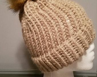 Knitted Winter Hat- Acrylic/ Alpaca with Faux Fur Pom Pom