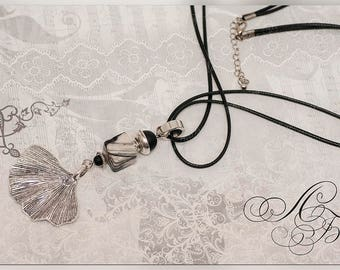 Luxurious necklace with natural stone, Pendant on a cotton cord, Landscape Jasper, Shungite