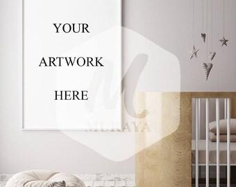 Nursery poster frame mockup, children room frame mock-up, scandinavian style interior background