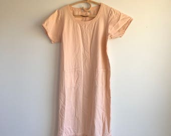Vintage Plus Size Long Peach Dress with Fringe, Cotton, Size Large