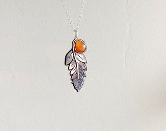 Fern and Red Agate Pendant