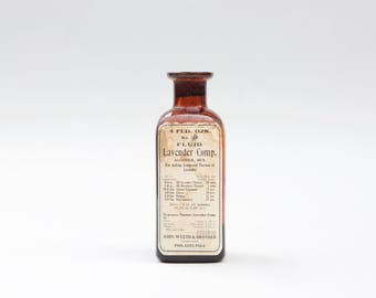 Lavender Extract Apothecary Bottle - Vintage Apothecary - Glass - Amber Glass Apothecary Bottle