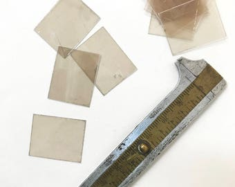 Mica sheets - small flat panels of natural smokey grey mica for mixed media, collage, scrapbooking and enameling (plique a jour)