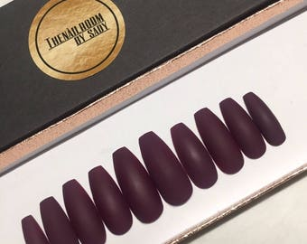 Burgundy Purple Matte Press on Nails / Any size/ Any shape/ Fake Nails