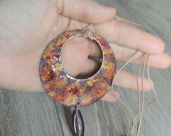 Pendant copper and enamel - glazes-