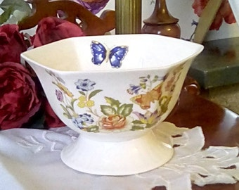 Vintage Aynsley cottage garden hexagonal footed cranberry bowl c.1985