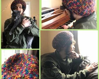 Crocheted Multicolored Beanie