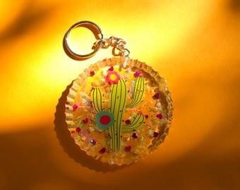 Clear Cactus Resin Keychain