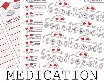 Medication Schedule Planner Stickers for Organize Your Daily Medicine and Pills - US Letter Size