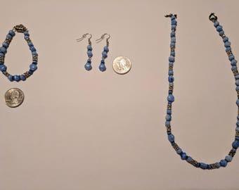 Shades of Blue Glass Bead Necklace + Bracelet + Earring Set