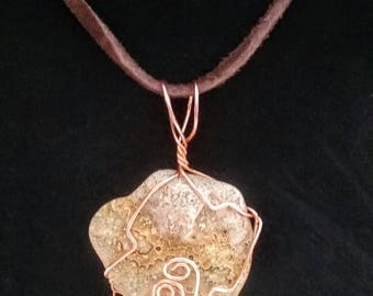 Mexican Crazy Lace Agate Wire Wrapped Necklace
