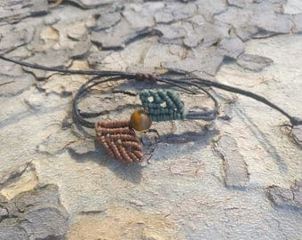 Macrame Leaf Bracelet cootton with wooden bead