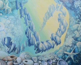 Infinity. Underwater Dawn. School of  Fish. Marine Life. Original oil painting.