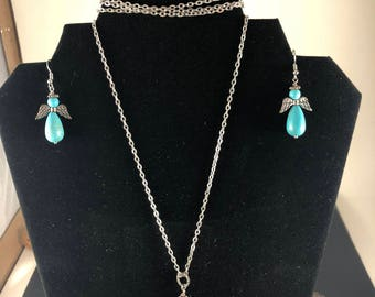 Turquoise Silver Necklace Set