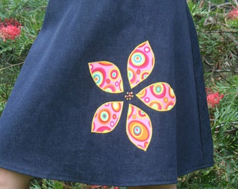 Applique and Embroidered A Line Denim Skirt Size 16