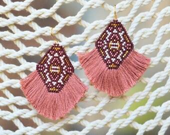 Dusty Rose Thread Fringe Earrings
