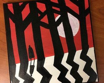 Customized Art, Handpainted Canvas, Room Decor, Wall Decor, Art Print - Twin Peaks, Mystery