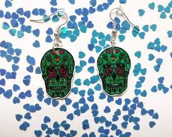 Green skulls with flowers