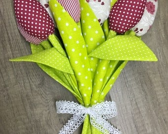 Fabric Tulips bouquet handmade Birthday Gift