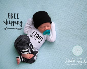 Baby Boy Coming Home Outfit/ Personalized Infant Baby outfit and Hat/ Monogrammed Baby Boy/ Baby Shower Gift/ Newborn Pictures