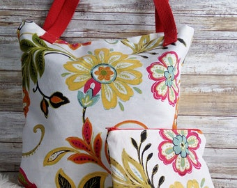 Floral tote bag and make up clutch, Bridesmaid gift, Wedding tote and make up bag set, Floral tote bag, Floral bridesmaid clutch, Customized