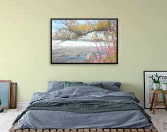 "Watercolor landscape ""By the Flowing River"" by Malinee Ganahl. Fine Art Lustre Print. Pink flowers, tree branch by water's edge."