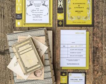 Book Wedding Invitation Printable Suite Set of 4