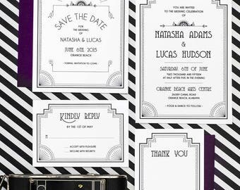 Art Deco Old Hollywood Wedding Invitation Printable Set of 4