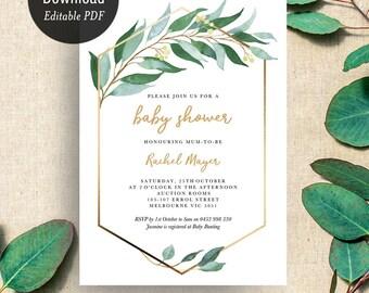 INSTANT DOWNLOAD Baby Shower Eucalyptus Invitation Printable