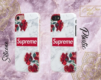 Supreme Case Red Rose iPhone X Marble iPhone 8 Case iPhone 8 Plus Case iPhone 7 Plus Galaxy S8 Plus Case Galaxy S7 Case Marble Phone Case