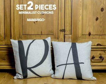 "Creative SET 2 pieces of pillows with unique typography letters, black & white, 16x16"", Cotton cushion cover, your choice of the letter"