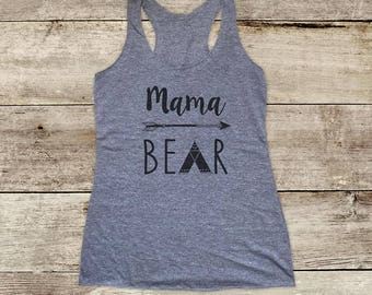 Mama Bear boho arrows tepee design - Soft Tri-blend Soft Racerback Tank fitness gym yoga running exercise shirt