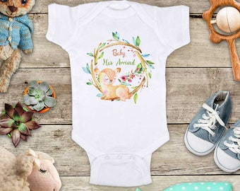 Baby Has Arrived deer flowers wreath watercolor design Baby bodysuit - cute birthday baby shower gift baby birth pregnancy announcement